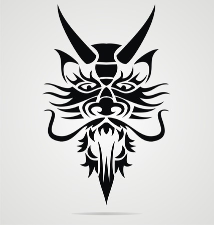 dragon head: Dragon Head Tribal Illustration
