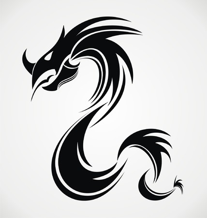 tribal dragon: Tribal Dragon Illustration