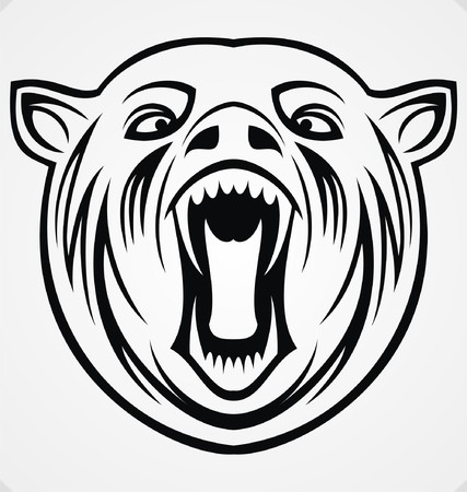 tribalism: Angry Bear Tribal Illustration