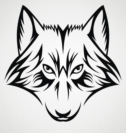 dog bite: Wolf Face Tribal Illustration