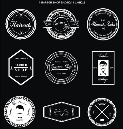 barber: Barber Shop Badges & Labels Illustration