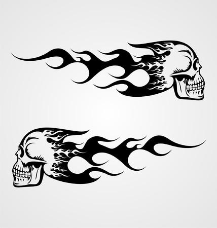 flaming: Flaming Skull Tattoo Illustration