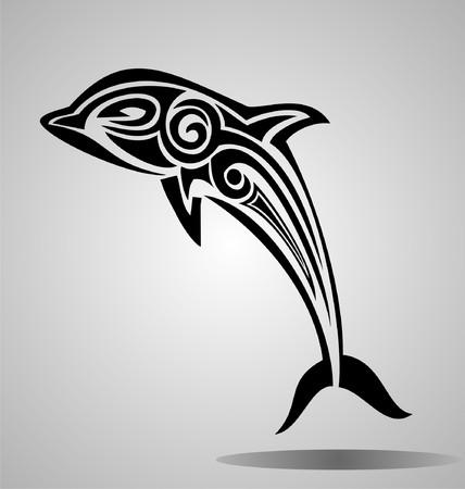 tribalism: Tribal Dolphin Illustration