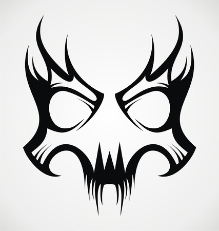 tribalism: Skull Mask Tattoo Design Illustration