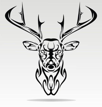 tribalism: Abstract Deer Head Illustration
