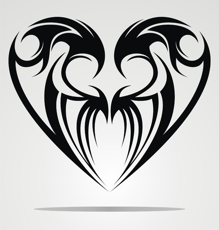 black: Heart Shape Tattoo Design Illustration