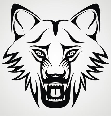dog bite: Wild Wolf Tribal Illustration
