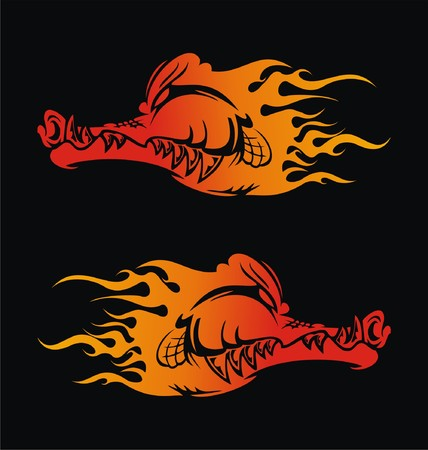 flaming: Flaming Alligator Illustration