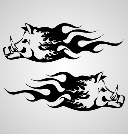 flaming: Flaming Boar Illustration