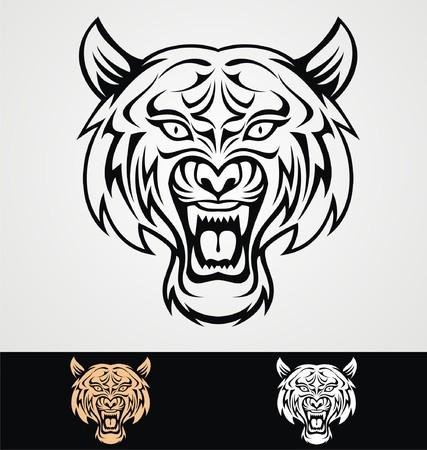 tiger head: Tribal Tiger Head
