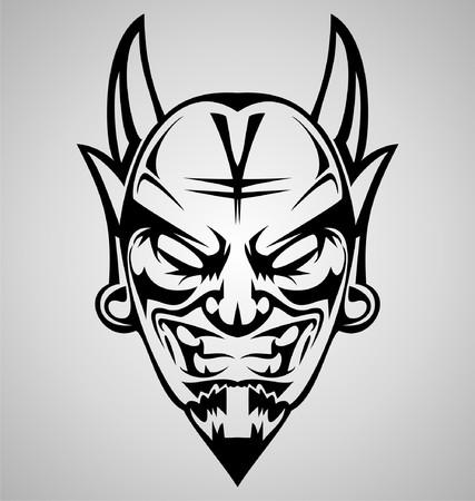 tribalism: Tribal Devil Head Illustration