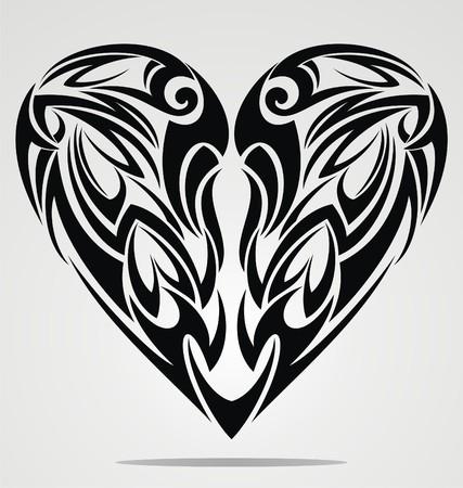 dessin coeur: Conception Tattoo C?ur Illustration