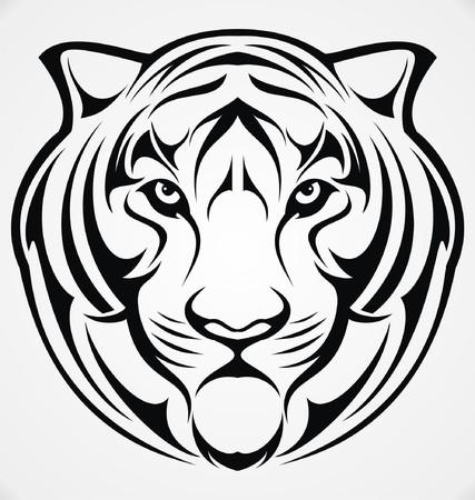 tribalism: Tiger Head Tribal Illustration