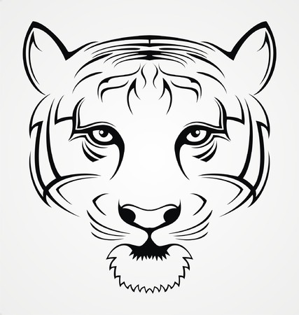 tribalism: Tiger Face Tattoo Illustration