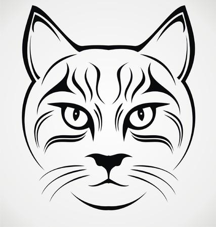tribalism: Cat Face Tattoo Design Illustration