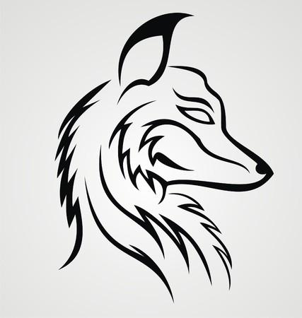 tribalism: Fox Head Tattoo Design Illustration
