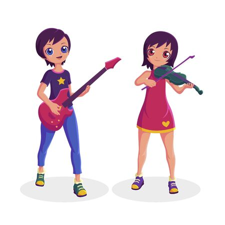 Women musician playing guitar and violin collection in different actions