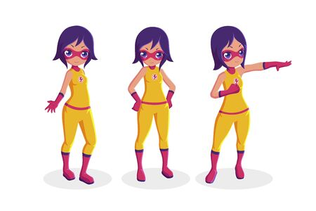Girl superhero heroine collection in different actions Illustration