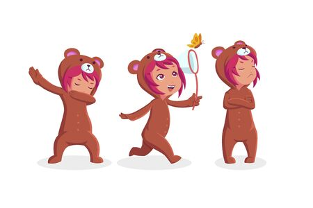 Little girl wearing bear costume in different actions, catching butterfly