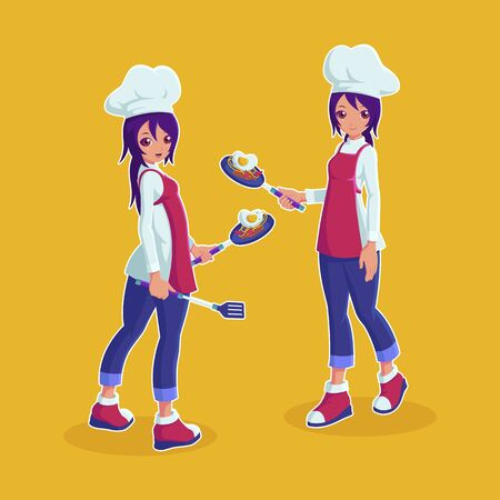 Female chef character holding a pan vector illustration