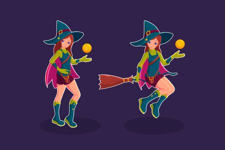 Witch flying in a broom cartoon character vector illustration