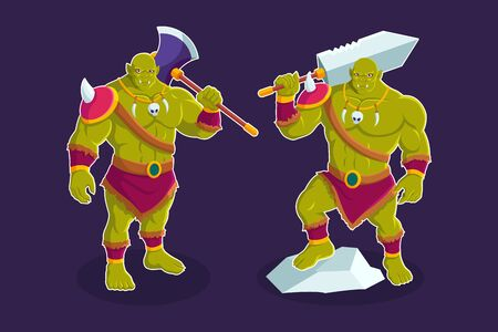 Troll orc cartoon character vector illustration
