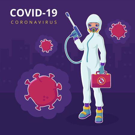 A doctor wearing hazmat suit fight Coronavirus vector illustration Illustration