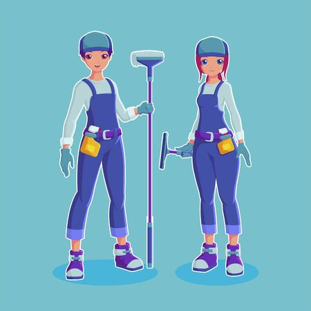Couple cleaners housekeeping with equipment vector illustration