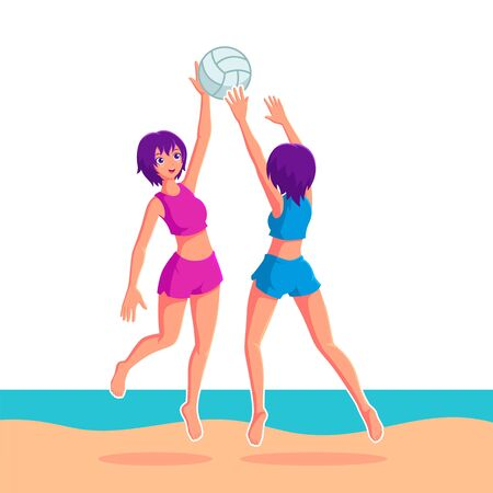 Girls Playing Volleyball in Beach Vector Illustration Ilustracja
