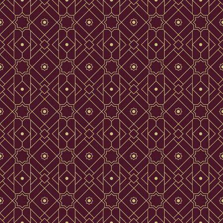 Geometric islamic seamless pattern background wallpaper in luxury maroon color