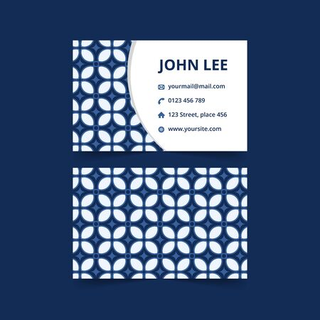 Elegant abstract business card with batik pattern. Luxury traditional brand card in blue color