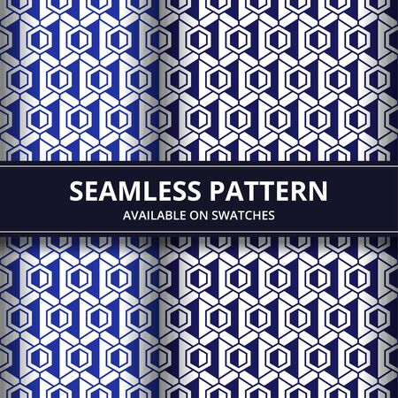 Geometric seamless pattern background wallpaper set in blue color