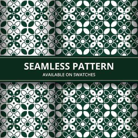 Elegant traditional Indonesia batik seamless pattern background wallpaper in green classic style set Illusztráció