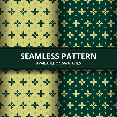 Elegant traditional Indonesia batik seamless pattern background wallpaper in green and yellow classic style set
