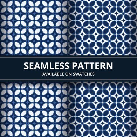Elegant traditional Indonesia batik seamless pattern background wallpaper in classic blue color set Illusztráció