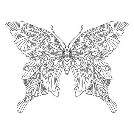 Butterfly Mandala Ornamental for Adult Coloring Page