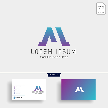 Letter M Logo template with business card