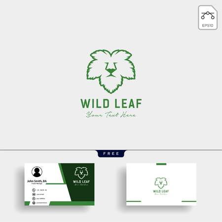 Lion wild leaf creative logo template vector illustration with business card template - vector Ilustração