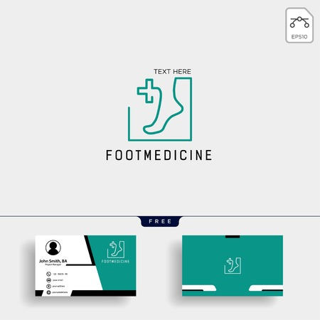 foot, ankle medicine logo template vector illustration with free business card design