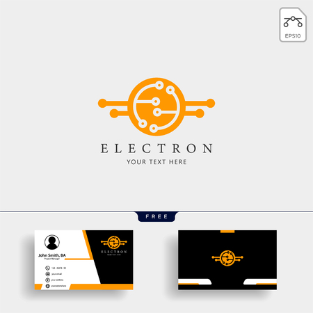 electrical connection technology logo template vector illustration with free business card design - vector