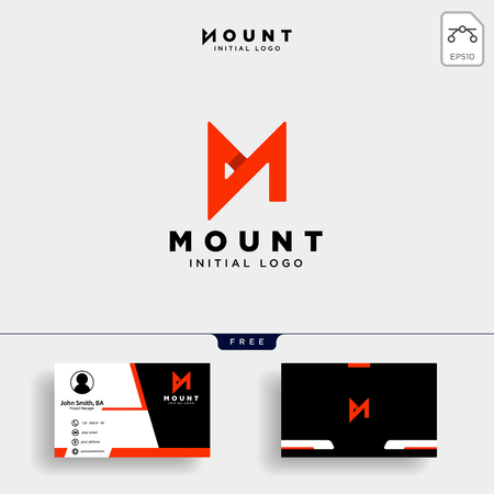 Unique letter M modern creative elegant luxurious artistic red and business card icon logo - Vector