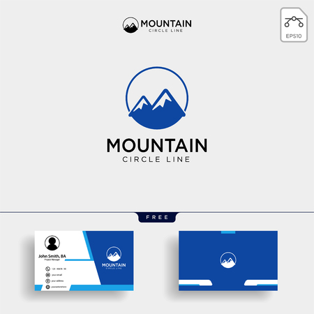 Simple vector logo in a modern style. Top of the mountain in the form of letter M with business card design. - Vector