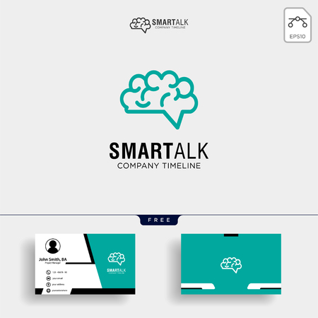 Brain Consult logo designs concept vector, Brain logo icon with business card template - Vector Illustration