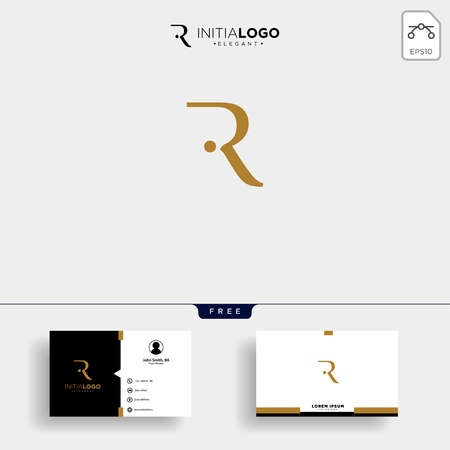 initial r luxury logo template vector illustration and business card design Logo