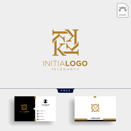 initial k luxury logo template vector illustration and business card design Çizim