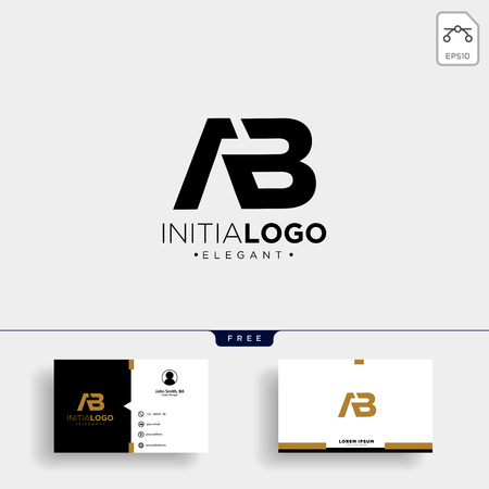initial AB abstract geometric logo template vector illustration and business card design Çizim