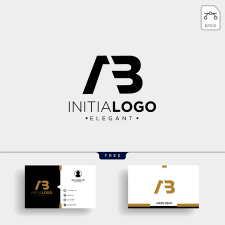 initial AB abstract geometric logo template vector illustration and business card design Illustration