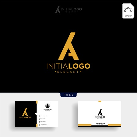 gold luxury and premium initial M or KM logo template vector illustration and get free business card template Stock Vector - 114650766