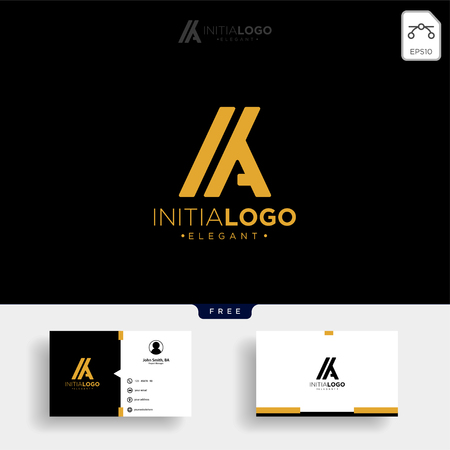 gold luxury and premium initial M or KM logo template vector illustration and get free business card template Stock Vector - 114650767