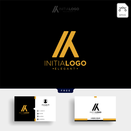 gold luxury and premium initial M or KM logo template vector illustration and get free business card template Stock Vector - 114650768